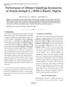 Performance of Different Seedlings Accessions of Acacia senegal (L ...