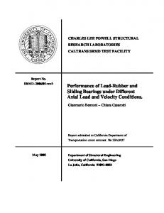 Performance of Lead-Rubber and Sliding Bearings under ... - Caltrans