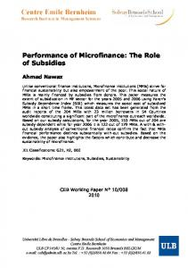 Performance of Microfinance: The Role of Subsidies - ULB