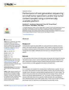Performance of next-generation sequencing on small tumor ... - PLOS