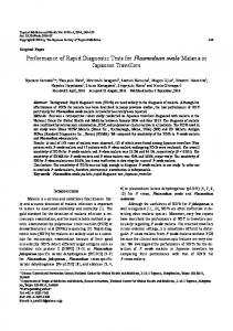 Performance of Rapid Diagnostic Tests for Plasmodium ovale Malaria ...