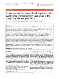 Performance of the international physical activity ... - BioMedSearch