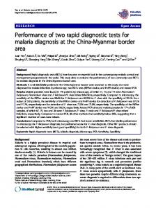 Performance of two rapid diagnostic tests for malaria ... - BioMedSearch