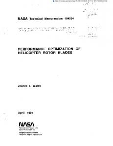 performance optimization of helicopter rotor blades - NASA ...