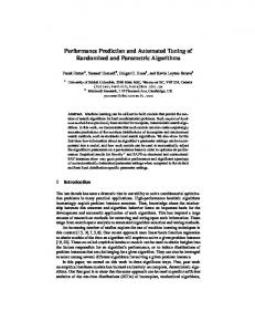 Performance Prediction and Automated Tuning of ... - Semantic Scholar
