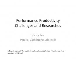 Performance Productivity Challenges and Researches