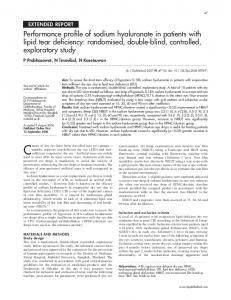 Performance profile of sodium hyaluronate in patients with lipid tear ...