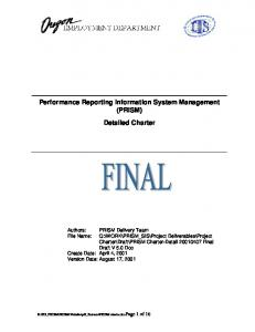 Performance Reporting Information System Management (PRISM ...