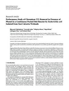 Performance Study of Chromium (VI) Removal in Presence of Phenol ...