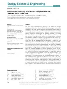 Performance testing of thermal and photovoltaic thermal solar collectors