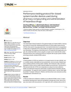 Performance testing protocol for closed-system transfer ... - PLOS
