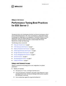 Performance Tuning Best Practices for ESX Server 3 - VMware