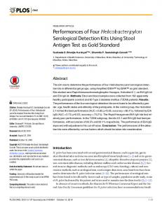 Performances of Four Helicobacter pylori ... - Semantic Scholar