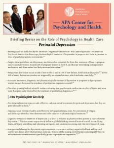Perinatal Depression - American Psychological Association