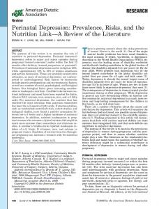 Perinatal Depression - Journal of the Academy of Nutrition and Dietetics
