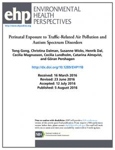 Perinatal Exposure to Traffic-Related Air Pollution and Autism ...