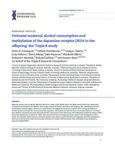 Perinatal maternal alcohol consumption and ... - Oxford Academic