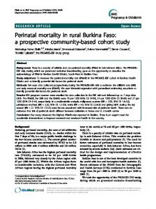 Perinatal mortality in rural Burkina Faso: a prospective community ...