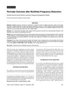 Perinatal Outcome after Multifetal Pregnancy Reduction - MedIND