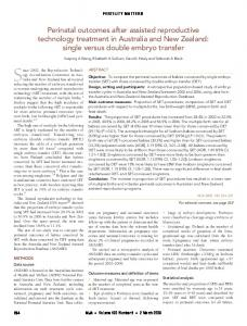 Perinatal outcomes after assisted reproductive technology treatment in ...