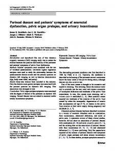 Perineal descent and patients' symptoms of anorectal ... - BioMedSearch