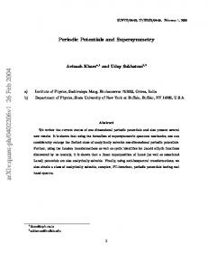 Periodic Potentials and Supersymmetry