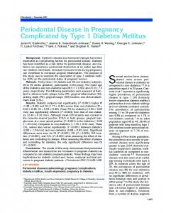 Periodontal Disease in Pregnancy Complicated by Type 1 Diabetes ...