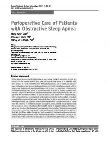 Perioperative Care of Patients with Obstructive Sleep Apnea