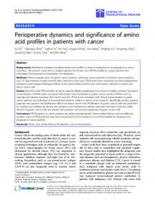 Perioperative dynamics and significance of amino acid profiles in ...