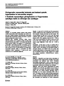 Perioperative myocardial ischemia and isolated ... - Springer Link