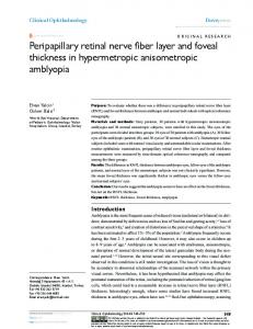 Peripapillary retinal nerve fiber layer and foveal thickness ... - CiteSeerX