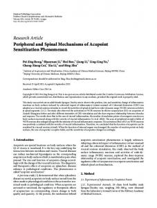 Peripheral and Spinal Mechanisms of Acupoint Sensitization ...