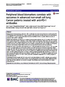 Peripheral blood biomarkers correlate with outcomes in advanced non