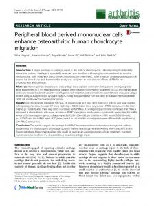 Peripheral blood derived mononuclear cells enhance osteoarthritic ...