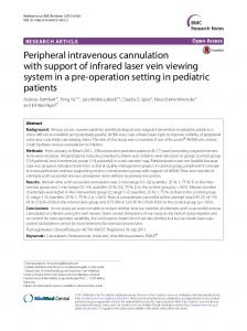 Peripheral intravenous cannulation with support of infrared laser vein ...