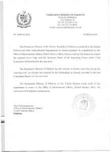 PERMANENT MISSION OF PAKISTAN - UNOG