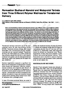 Permeation studies of atenolol and metoprolol tartrate from three ...