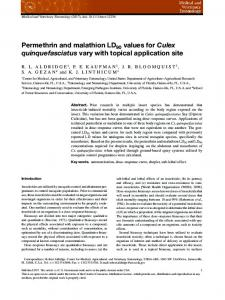Permethrin and malathion LD90 values for ... - Wiley Online Library