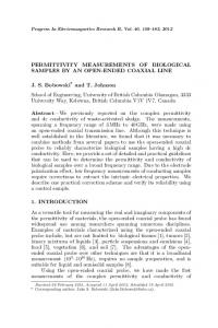 PERMITTIVITY MEASUREMENTS OF BIOLOGICAL SAMPLES BY AN ...