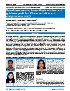 Peroxidase assisted biosynthesis of silver and gold nanoparticles ...