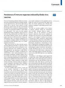 Persistence of immune responses induced by Ebola virus ... - The Lancet