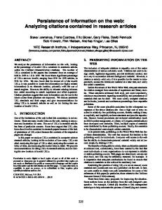 Persistence of information on the web: Analyzing ... - C. Lee Giles