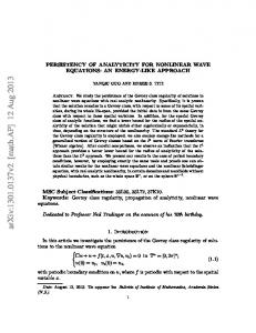 Persistency of Analyticity for Nonlinear Wave Equations: An Energy ...