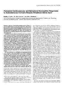 Persistent Cardiovascular and Behavioral Nociceptive Responses to ...