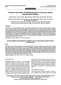 Persistent colonization of Helicobacter pylori in human gut ... - DergiPark