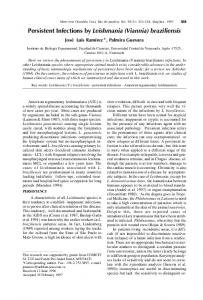 Persistent Infections by Leishmania (Viannia) braziliensis - SciELO
