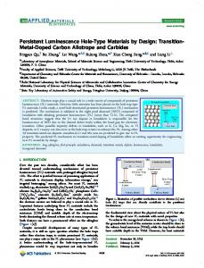 Persistent Luminescence Hole-Type Materials by Design - American ...