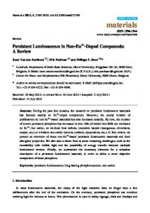 Persistent Luminescence in Non-Eu2+-Doped Compounds: A Review