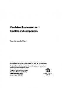 Persistent luminescence: kinetics and compounds
