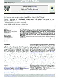 Persistent organic pollutants in selected fishes of the ...